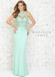 Mint Long Sleeves Madison James 15-160 Fit and Flare Lace Top Jersey Gown - Evening Dresses - Sukienki na wesele