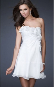 Cheap White Strapless Chiffon Flower Cocktail Dress [short white floral prom dress] - $195.90 : lafemme2013outlet.com - Suknie ślubne