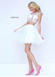 2016 Sherri Hill 50478 Lovely Lace Embroidered Party Dress [sherri hill 50478 ivory pink] - $220.00 : www.dresslafemme.com - Sukienki na wesele