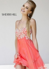 Coral Short Beaded Top Layered Halter Sherri Hill 3878 Party Dress [Sherri Hill 3878 Coral] - $203.00 : Prom Dresses 2014 Sale, 70% off Dresses for Prom - Sukienki na wesele