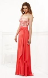 Outlet 2016 Faviana 7147 Long One Strap Applique Prom Dresses [long coral prom dresses] - $185.90 : lafemme2013outlet.com - Sukienki na wesele