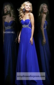 Blue Long Jeweled Sherri Hill 3904 Prom Dresses [cheap long prom dresses] - $149.00 : www.2014dressesforprom.us - Sukienki na wesele