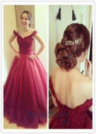 Dark Red Lace Appliqued Top Off Shoulder A Line Evening Gown - $179.00 - Sukienki na wesele
