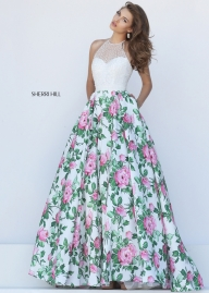 Sherri Hill 50451 Beaded Halter Style Floral Ball Gown Sale [sherri hill 50451 ivory pink] - $287.00 : homecomingshortdresses.us - Sukienki na wesele