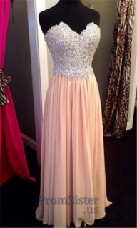 Sparkly Beaded Top Strapless Peach Long Prom Dress for Girls - $185.00 - Sukienki na wesele