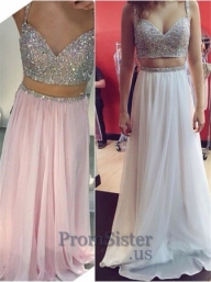 White Sparkly Sequined Top Long Two Piece Chiffon Dress 2016 - $169.00 - Sukienki na wesele