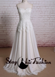 Ivory Nude Strapless Lace Embroidery Top A Line Wedding Bridal Dress Online [sc875] - $227.00 : Tailor-made Prom Dresses Sale, Womens Formal Dresses Online - Suknie ślubne