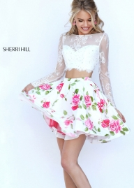 Sherri Hill 50464 Floral Print 2 Pc Chiffon Mini Dress Sale [sherri hill 50464 ivory coral] - $180.00 : homecomingshortdresses.us - Biżuteria ślubna