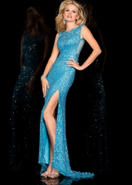 2016 Illusion Skye Blue Scala 48556 Sequin Beaded Prom Gown [scala 48556 sky] - $199.00 : Hot Sale Prom Dresses  - Sukienki na wesele