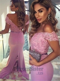 Womens Pink Off Shoulder Lace Top Long Jersey Eveing Gown - $178.00 - Sukienki na wesele