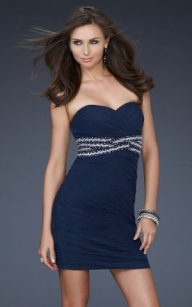 Cheap Navy Blue Strapless Jeweled Waist Cocktail Dress [navy blue strapless cocktail dress] - $175.90 : lafemme2013outlet.com - Sukienki na wesele