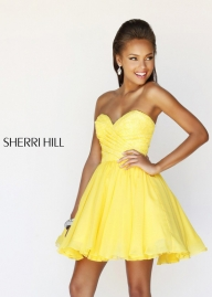 Yellow Sweetheart Pleated Short A Line Cocktail Dress [Sherri Hill 21257 Yellow] - $182.00 : Hot Sale Prom Dresses  - Sukienki na wesele