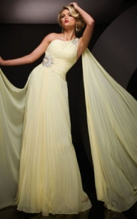 Long Yellow Beaded One Shoulder Prom Dresses [long yellow prom dress] - $168.00 : www.2014dressesforprom.us - Sukienki na wesele