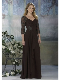 A-Line V-Neck Floor-Length Chiffon Saches With Lace Mother Of The Bride Dress - Bukiety i butonierki