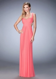 Colorful Jeweled Ruched Sweetheart Prom Dress in Coral [la femme 22727 coral] - $129.00 : www.2014dresstrends.us - Sukienki na wesele