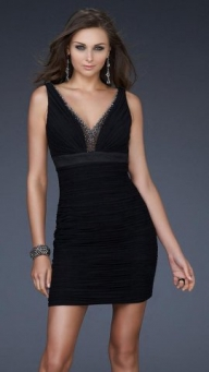 Cheap Black Sparkly Pleated Chiffon V Neck Cocktail Dress [short black v neck sequined prom dress] - $171.90 : lafemme2013outlet.com - Sukienki na wesele