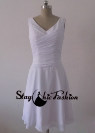Staychicfashion White Pleated V Neck Short Ruched Waist Low Back Bridesmaid Dress Online [SC622] - $130.00 : Tailor-made Prom Dresses Sale, Womens Formal Dresses - Obrączki