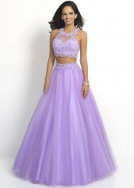 NEW Style Discount Blush 5430 Lilac Floral Applique Beaded Neckline Top Prom Dresses Evening Gowns [Hsd blush 5430 lilac] - $250.00 : homecomingshortdresses.us - Sukienki na wesele