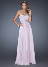 Pale Pink Beaded Lace Covered Long Prom Dress [La Femme 20128] - $191.00 : Hot Sale Prom Dresses - Sukienki na wesele