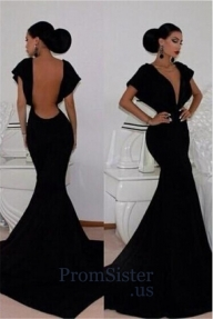 Elegant Black Open Back V Neck Mermaid Fitted Gown - $165.00 - Buty ślubne damskie