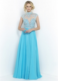 Blue Beaded High Neck Open Back Blush 9967 Prom Dress with Mesh Top [blush 9967 blue] - $214.00 : www.dressesforprom2015.com - Sukienki na wesele