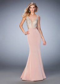La Femme 22767 Sparkly Beaded Deep Plunging Prom Dress For Women [la femme 22767 blush] - $269.00 : www.dresslafemme.com - Sukienki na wesele