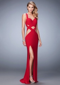 2016 La Femme 22172 Sultry Sheer Panel Cut Out Evening Gown [la femme 22172 red] - $159.00 : www.dresslafemme.com - Sukienki na wesele