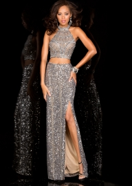 Glitzy Platinum Long Two Piece Sequin Beaded Gown [scala 25400l platinum] - $169.00 : Hot Sale Prom Dresses  - Sukienki na wesele