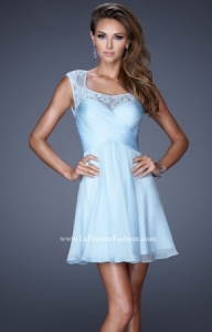 La Femme 20581 Sexy Cutout Back Short Lace Prom Dress - $223.00 - Sukienki na wesele