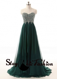 Sparkly Beaded Top Hunter Green Strapless Flowing Prom Formal Dress Online [sc790] - $212.00 : Tailor-made Prom Dresses Sale, Womens Formal Dresses - Garnitury