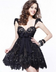 On Sale Cheap Short Black Nude Lace Sweetheart Homecoming Dress 2015 [short black nude lace dress] - $218.90 : lafemme2013outlet.com - Suknie ślubne