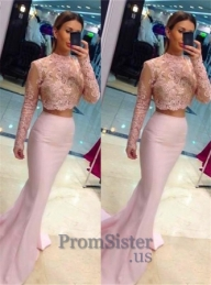 Pink Illusion High Neck Two Piece Mermaid Prom Dress - $185.00 - Sukienki na wesele