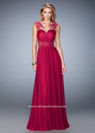 High Fashion Cranberry Lace Accented Sheer Cap Sleeve Dress [la femme 21921 cranberry] - $219.00 : www.2014dresstrends.us - Sukienki na wesele
