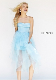 Short Cheap Sherri Hill 21246 Strapless Blue High Low Cocktail D [Sherri Hill 21246 Blue] - $250.00 : thepromdresses2016.us - Sukienki na wesele