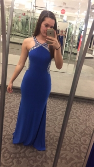 Just $188.00-Cheap Blondie Nites 55511 Beaded Halter Top Royal Open Back Bodycon Prom Gown-Cheap Dresses Low Price - Buty ślubne damskie