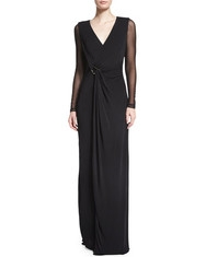 If some kind of special occasion is coming, and you really wish to look luxurious and beautiful, then this amazing long sheer evening gown in black is definitely a perfect choice! With a perfect V-neck that suit every woman in every shape and form fitting cut, this dress is definitely worth a lot of your attention. - Sukienki na wesele