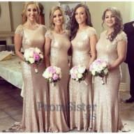 Gold Sparkly Lace Cap Sleeves Sequined Bridesmaid Dress - $150.00 - Suknie ślubne