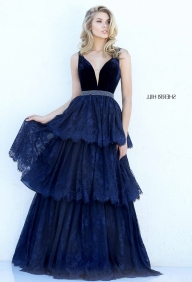 Sherri Hill 50771 Navy Plunging V Neck Velvet Top Layered Lace Prom Dress [Sherri Hill 50771] - $216.00 : 2016 Sherri Hill Prom Dresses Cheap Sale online.Big Discount Price Sherri Hill - Buty ślubne męskie