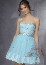 Beading Sweetheart Ruffled Tulle Auqa Short Party Dress On Sale [Mori Lee 9278 Aqua] - $120.00 : Lady in Prom Dresses 2016 Sale|LadyinProm.com - Galanteria papiernicza