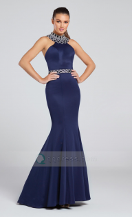 Mermaid Sweep Train Beaded High Neck and Waistband Sleeveless Jersey Prom Dress - Dodatki damskie