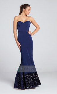 Strapless Sweetheart Neckline Satin Mermaid Prom Dress with Velvet Hem - Dodatki damskie