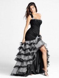 Sleeveless Long Taffeta/Organza One-Shoulder Ruffles Dress - Bukiety i butonierki