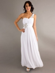 One Shoulder Sleeveless Chiffon A-Line Floor-Length Dress - Bukiety i butonierki