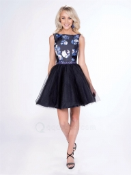 Bateau Neck Printed Taffeta Top Tulle Skirt Homecoming Dress with Beaded Waistband - Dodatki damskie