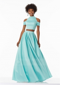 High Neck Pleated A-line Skirt Buttons Back Two Piece Satin Prom Dress - Dodatki damskie