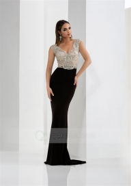 Sheath V-Neck Cap Straps Sweep Train Open Back Jersey Prom Dress with Beaded - Buty ślubne damskie