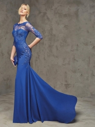 Sheath/Column Bateau Lace Floor-Length 1/2 Sleeves Chiffon Dresses - Prom Dresses - Bukiety i butonierki