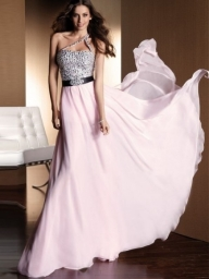 A-Line/Princess One-Shoulder Floor-Length Sleeveless Chiffon Dress With Rhinestone - Bukiety i butonierki