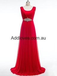 Pretty A-Line Scoop Long Red Chiffon Prom Dresses at addloves.com.au - Sukienki na wesele