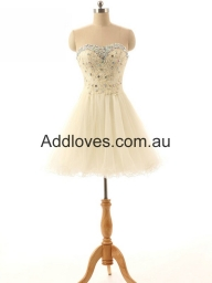 Glorious A-line Short Champagne Prom Dresses at addloves.com.au - Sukienki na wesele